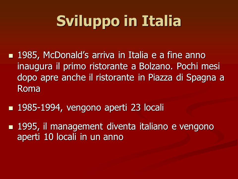 Sviluppo in Italia 1985, McDonalds arriva in Italia e a fine anno inaugura il primo ristorante a Bolzano. Pochi mesi dopo apre anche il ristorante in