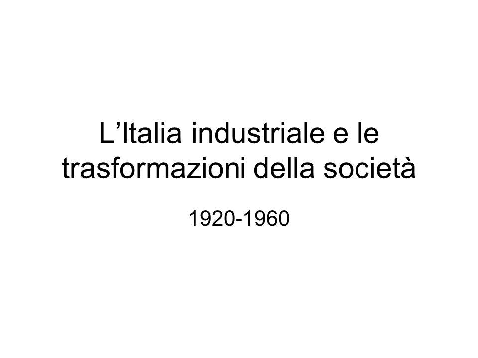 LItalia industriale e le trasformazioni della società 1920-1960