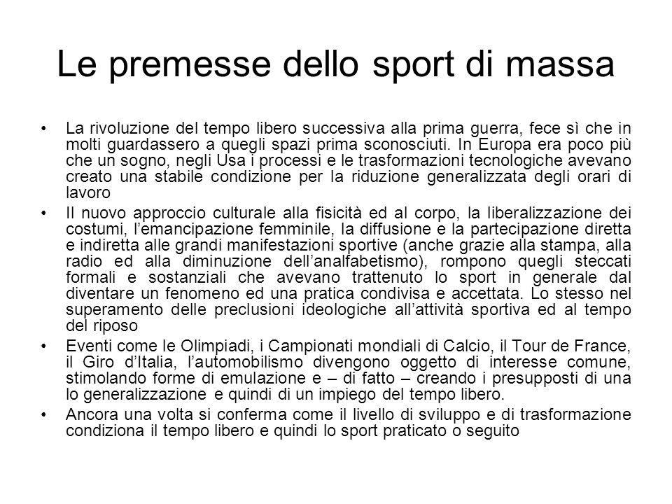 Le premesse dello sport di massa La rivoluzione del tempo libero successiva alla prima guerra, fece sì che in molti guardassero a quegli spazi prima s