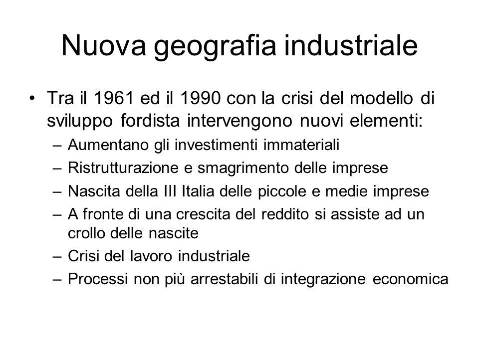 Nuova geografia industriale Tra il 1961 ed il 1990 con la crisi del modello di sviluppo fordista intervengono nuovi elementi: –Aumentano gli investime
