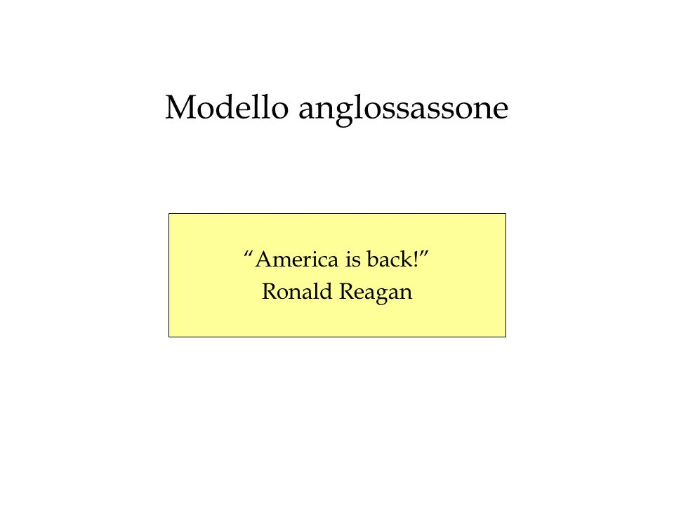 Modello anglossassone America is back! Ronald Reagan