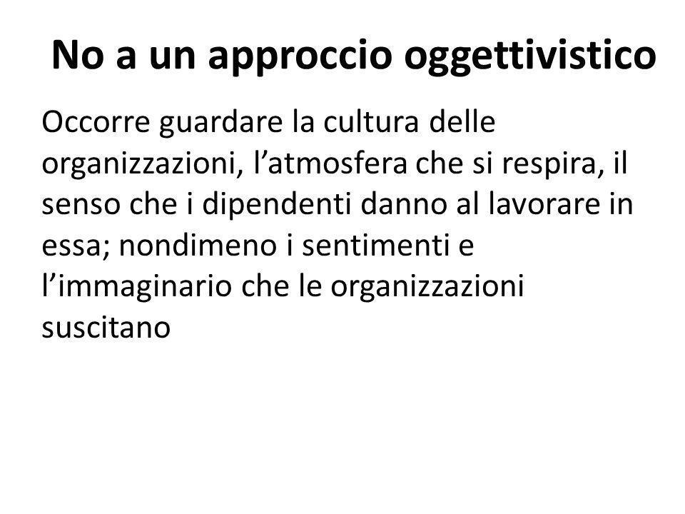 No a un approccio oggettivistico Occorre guardare la cultura delle organizzazioni, latmosfera che si respira, il senso che i dipendenti danno al lavorare in essa; nondimeno i sentimenti e limmaginario che le organizzazioni suscitano