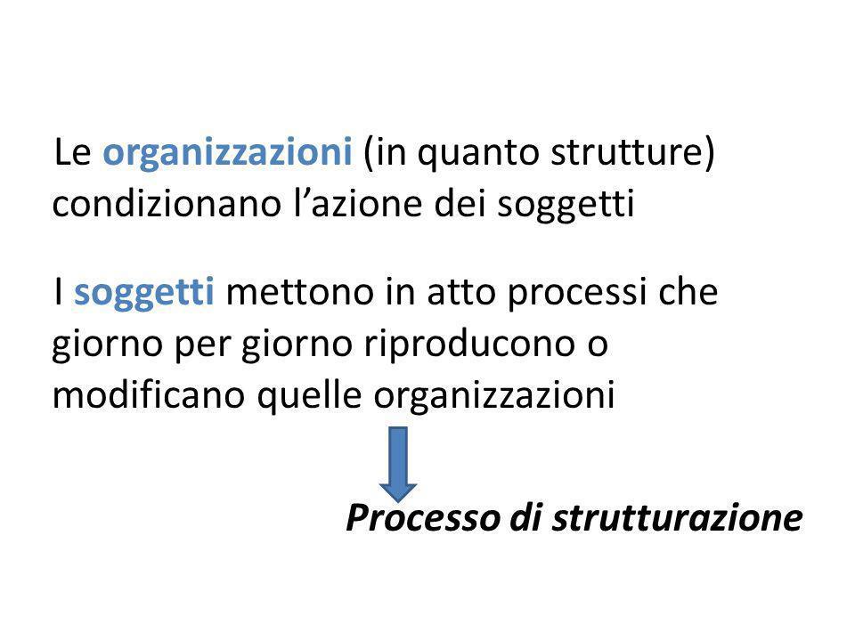 Le organizzazioni (in quanto strutture) condizionano lazione dei soggetti I soggetti mettono in atto processi che giorno per giorno riproducono o modificano quelle organizzazioni Processo di strutturazione