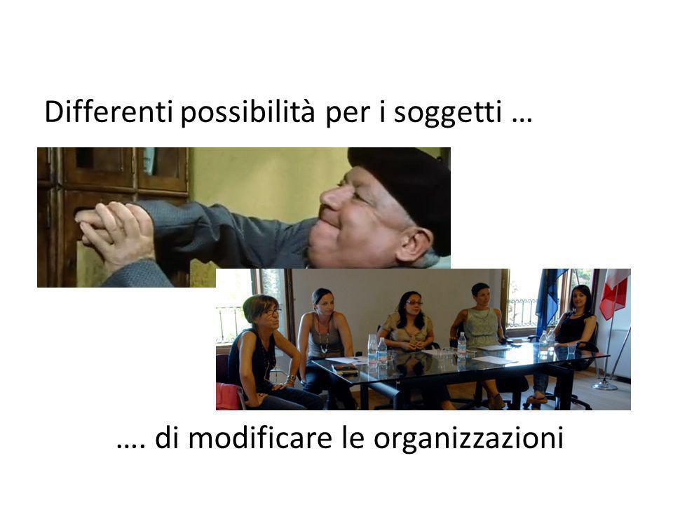 …. di modificare le organizzazioni Differenti possibilità per i soggetti …