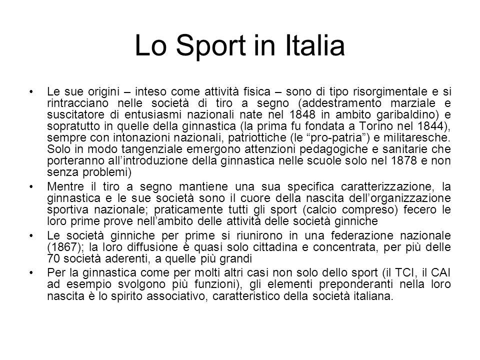 Lo Sport in Italia Le sue origini – inteso come attività fisica – sono di tipo risorgimentale e si rintracciano nelle società di tiro a segno (addestr