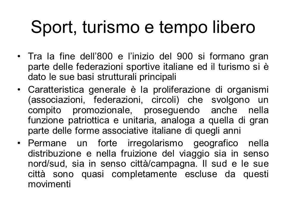 Sport, turismo e tempo libero Tra la fine dell800 e linizio del 900 si formano gran parte delle federazioni sportive italiane ed il turismo si è dato