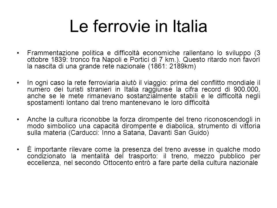 Le ferrovie in Italia Frammentazione politica e difficoltà economiche rallentano lo sviluppo (3 ottobre 1839: tronco fra Napoli e Portici di 7 km.). Q