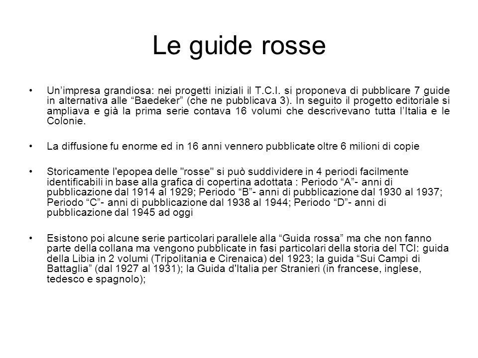 Le guide rosse Unimpresa grandiosa: nei progetti iniziali il T.C.I. si proponeva di pubblicare 7 guide in alternativa alle Baedeker (che ne pubblicava