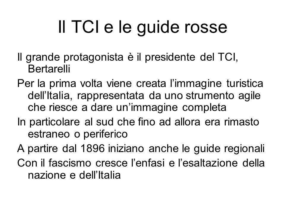 Il TCI e le guide rosse Il grande protagonista è il presidente del TCI, Bertarelli Per la prima volta viene creata limmagine turistica dellItalia, rap