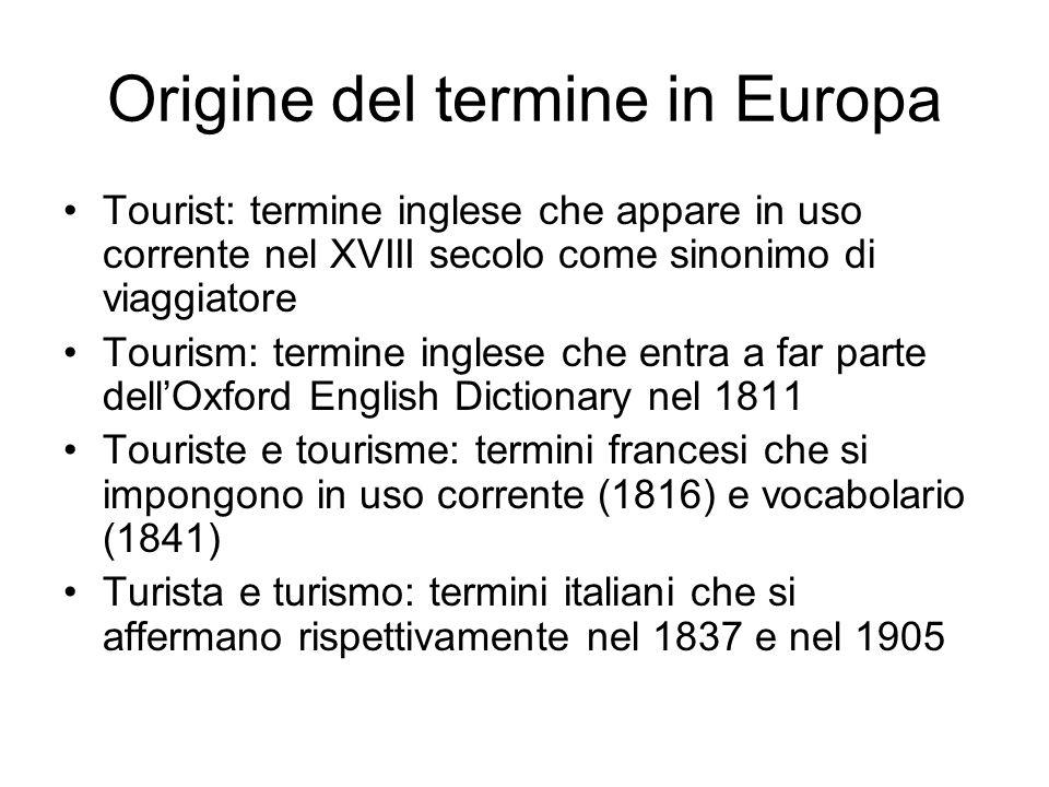 Origine del termine in Europa Tourist: termine inglese che appare in uso corrente nel XVIII secolo come sinonimo di viaggiatore Tourism: termine ingle