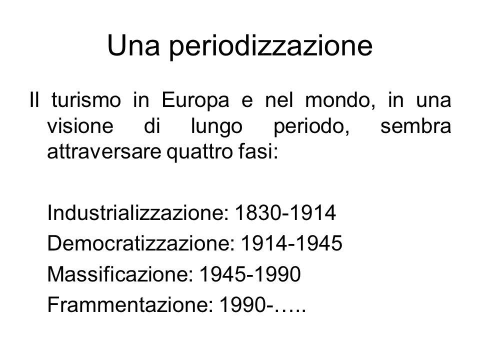 Una periodizzazione Il turismo in Europa e nel mondo, in una visione di lungo periodo, sembra attraversare quattro fasi: Industrializzazione: 1830-191