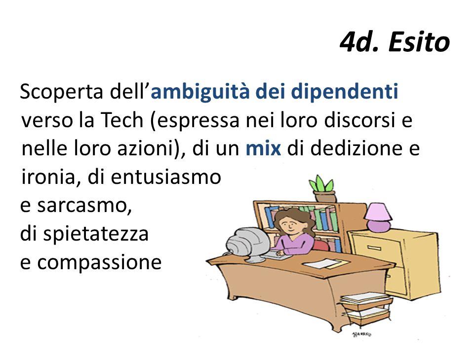 4d. Esito Scoperta dellambiguità dei dipendenti verso la Tech (espressa nei loro discorsi e nelle loro azioni), di un mix di dedizione e ironia, di en