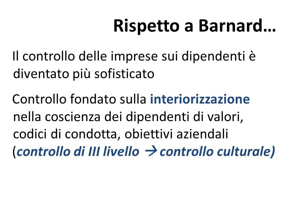 Rispetto a Barnard… Il controllo delle imprese sui dipendenti è diventato più sofisticato Controllo fondato sulla interiorizzazione nella coscienza de