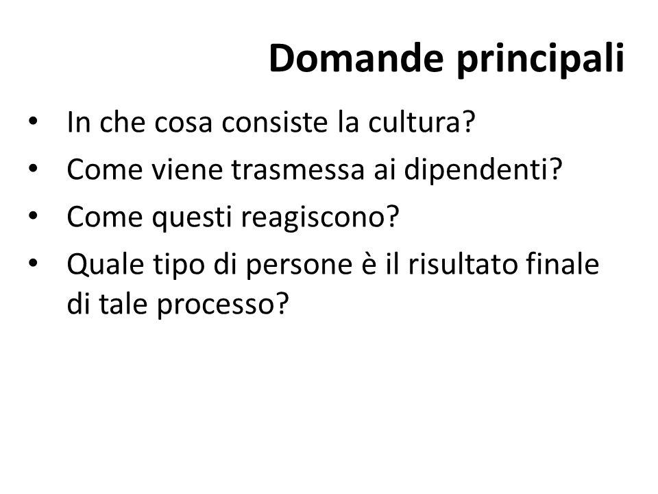 Domande principali In che cosa consiste la cultura? Come viene trasmessa ai dipendenti? Come questi reagiscono? Quale tipo di persone è il risultato f