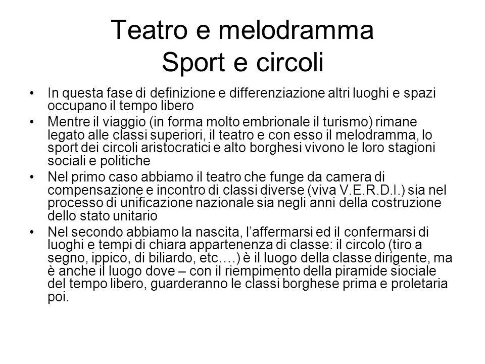 Teatro e melodramma Sport e circoli In questa fase di definizione e differenziazione altri luoghi e spazi occupano il tempo libero Mentre il viaggio (