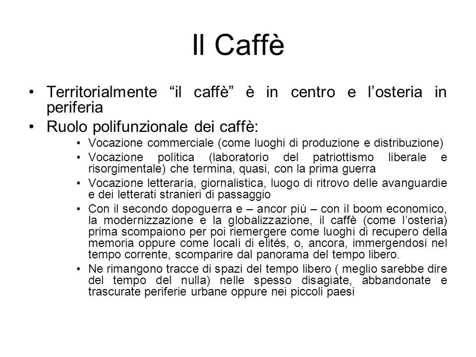 Il Caffè Territorialmente il caffè è in centro e losteria in periferia Ruolo polifunzionale dei caffè: Vocazione commerciale (come luoghi di produzion