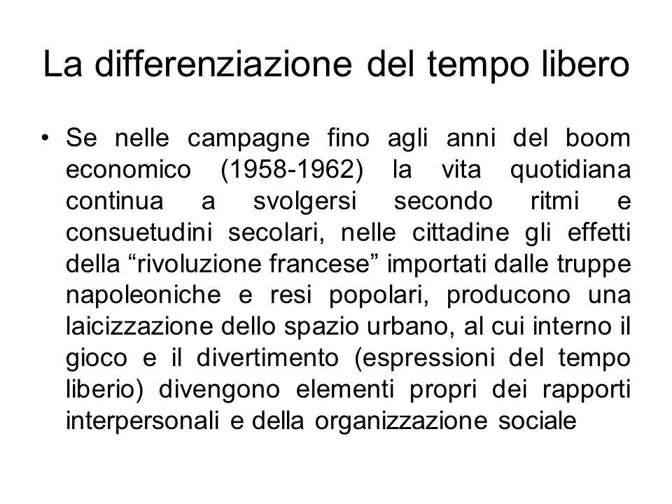 La differenziazione del tempo libero Se nelle campagne fino agli anni del boom economico (1958-1962) la vita quotidiana continua a svolgersi secondo r
