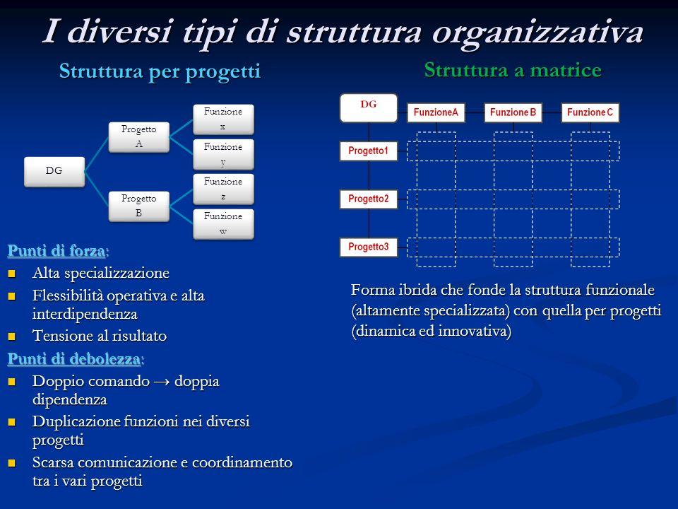 DG Progetto A Funzione x Funzione y Progetto B Funzione z Funzione w I diversi tipi di struttura organizzativa Struttura per progetti Punti di forza: