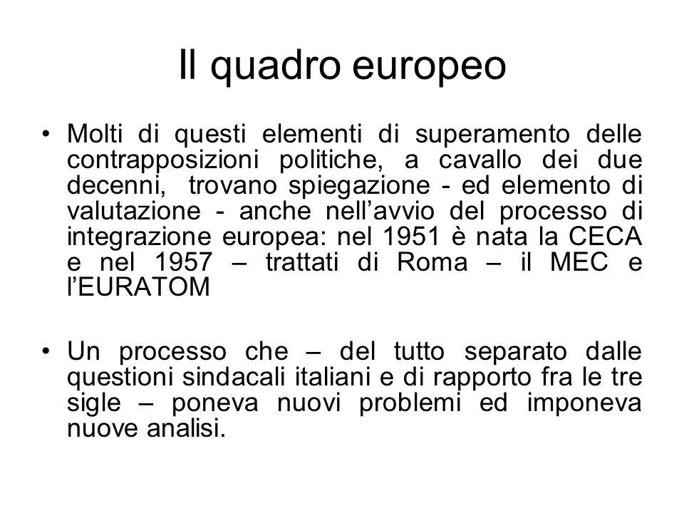 Il quadro europeo Molti di questi elementi di superamento delle contrapposizioni politiche, a cavallo dei due decenni, trovano spiegazione - ed elemento di valutazione - anche nellavvio del processo di integrazione europea: nel 1951 è nata la CECA e nel 1957 – trattati di Roma – il MEC e lEURATOM Un processo che – del tutto separato dalle questioni sindacali italiani e di rapporto fra le tre sigle – poneva nuovi problemi ed imponeva nuove analisi.