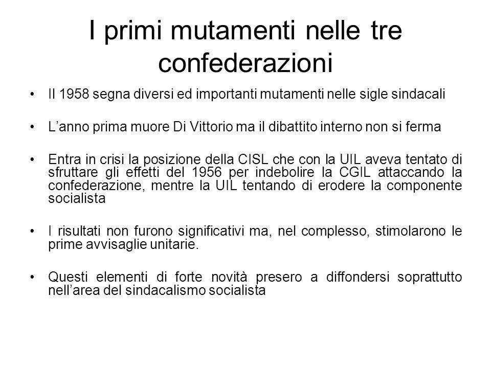 I primi mutamenti nelle tre confederazioni Il 1958 segna diversi ed importanti mutamenti nelle sigle sindacali Lanno prima muore Di Vittorio ma il dibattito interno non si ferma Entra in crisi la posizione della CISL che con la UIL aveva tentato di sfruttare gli effetti del 1956 per indebolire la CGIL attaccando la confederazione, mentre la UIL tentando di erodere la componente socialista I risultati non furono significativi ma, nel complesso, stimolarono le prime avvisaglie unitarie.