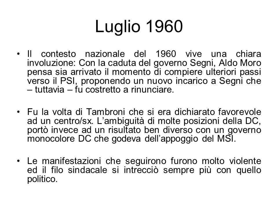 Luglio 1960 Il contesto nazionale del 1960 vive una chiara involuzione: Con la caduta del governo Segni, Aldo Moro pensa sia arrivato il momento di compiere ulteriori passi verso il PSI, proponendo un nuovo incarico a Segni che – tuttavia – fu costretto a rinunciare.
