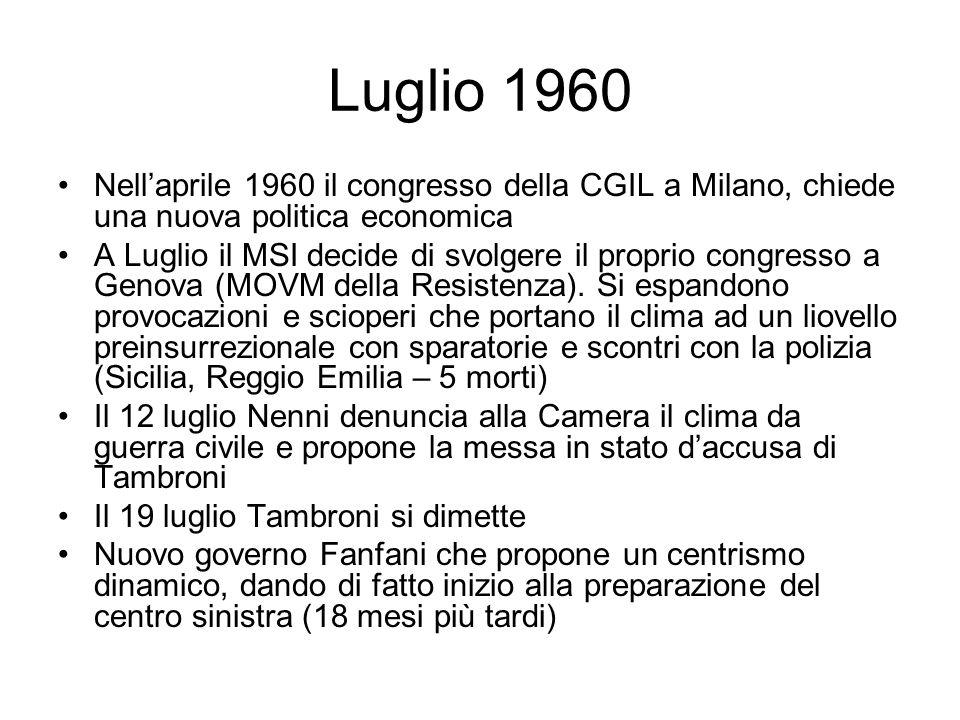 Luglio 1960 Nellaprile 1960 il congresso della CGIL a Milano, chiede una nuova politica economica A Luglio il MSI decide di svolgere il proprio congresso a Genova (MOVM della Resistenza).