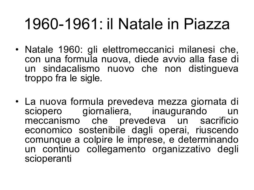 1960-1961: il Natale in Piazza Natale 1960: gli elettromeccanici milanesi che, con una formula nuova, diede avvio alla fase di un sindacalismo nuovo che non distingueva troppo fra le sigle.