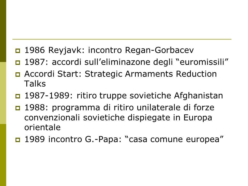 1986 Reyjavk: incontro Regan-Gorbacev 1987: accordi sulleliminazone degli euromissili Accordi Start: Strategic Armaments Reduction Talks 1987-1989: ri