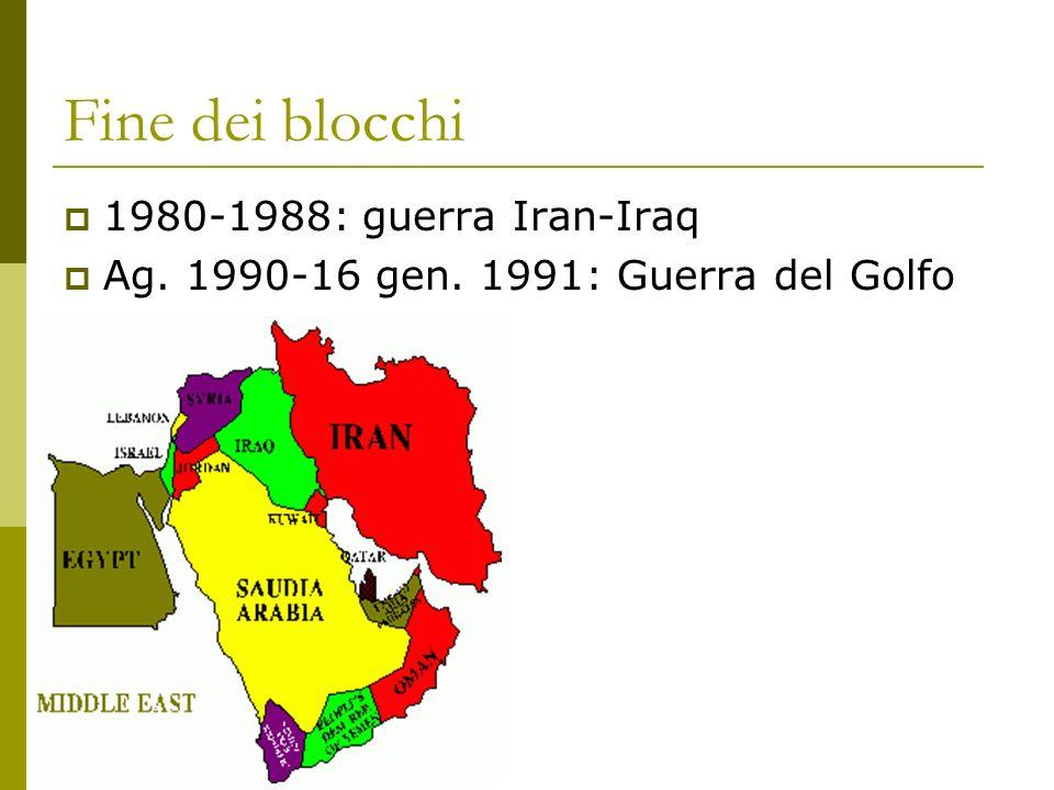 Fine dei blocchi 1980-1988: guerra Iran-Iraq Ag. 1990-16 gen. 1991: Guerra del Golfo