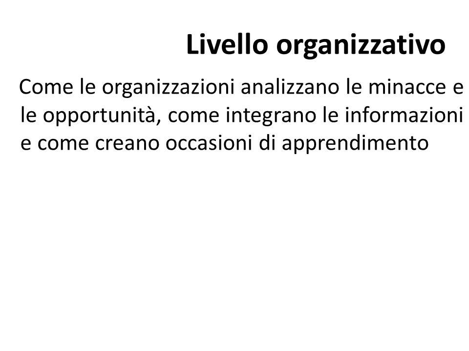 Livello organizzativo Come le organizzazioni analizzano le minacce e le opportunità, come integrano le informazioni e come creano occasioni di apprend