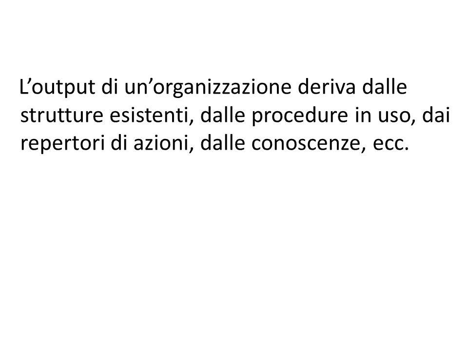 Loutput di unorganizzazione deriva dalle strutture esistenti, dalle procedure in uso, dai repertori di azioni, dalle conoscenze, ecc.