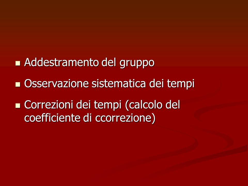 Addestramento del gruppo Addestramento del gruppo Osservazione sistematica dei tempi Osservazione sistematica dei tempi Correzioni dei tempi (calcolo