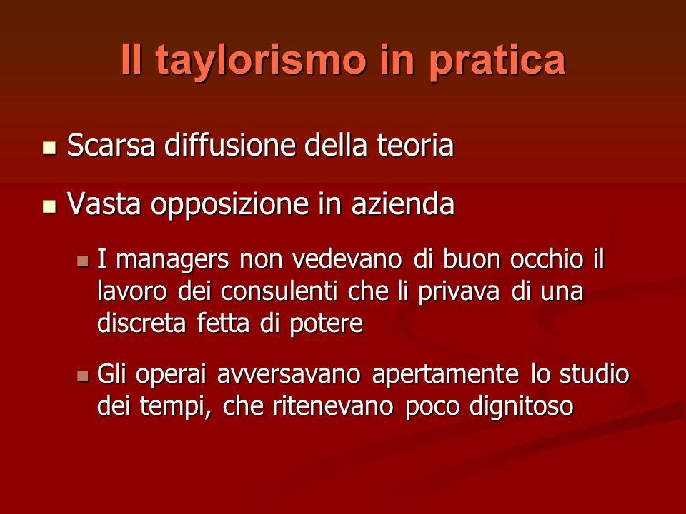 Il taylorismo in pratica Scarsa diffusione della teoria Scarsa diffusione della teoria Vasta opposizione in azienda Vasta opposizione in azienda I man