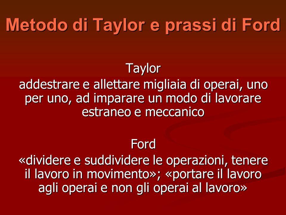 Metodo di Taylor e prassi di Ford Taylor addestrare e allettare migliaia di operai, uno per uno, ad imparare un modo di lavorare estraneo e meccanico