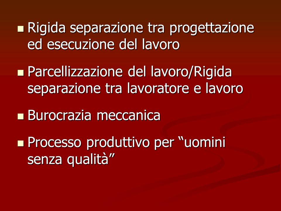 Rigida separazione tra progettazione ed esecuzione del lavoro Rigida separazione tra progettazione ed esecuzione del lavoro Parcellizzazione del lavor