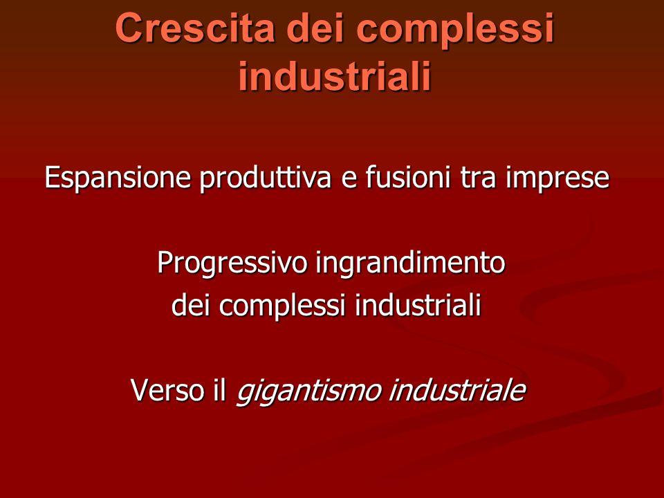 Crescita dei complessi industriali Espansione produttiva e fusioni tra imprese Progressivo ingrandimento Progressivo ingrandimento dei complessi indus