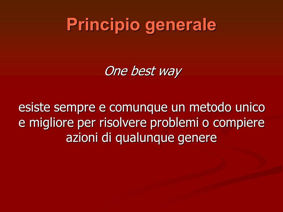 Principio generale One best way esiste sempre e comunque un metodo unico e migliore per risolvere problemi o compiere azioni di qualunque genere