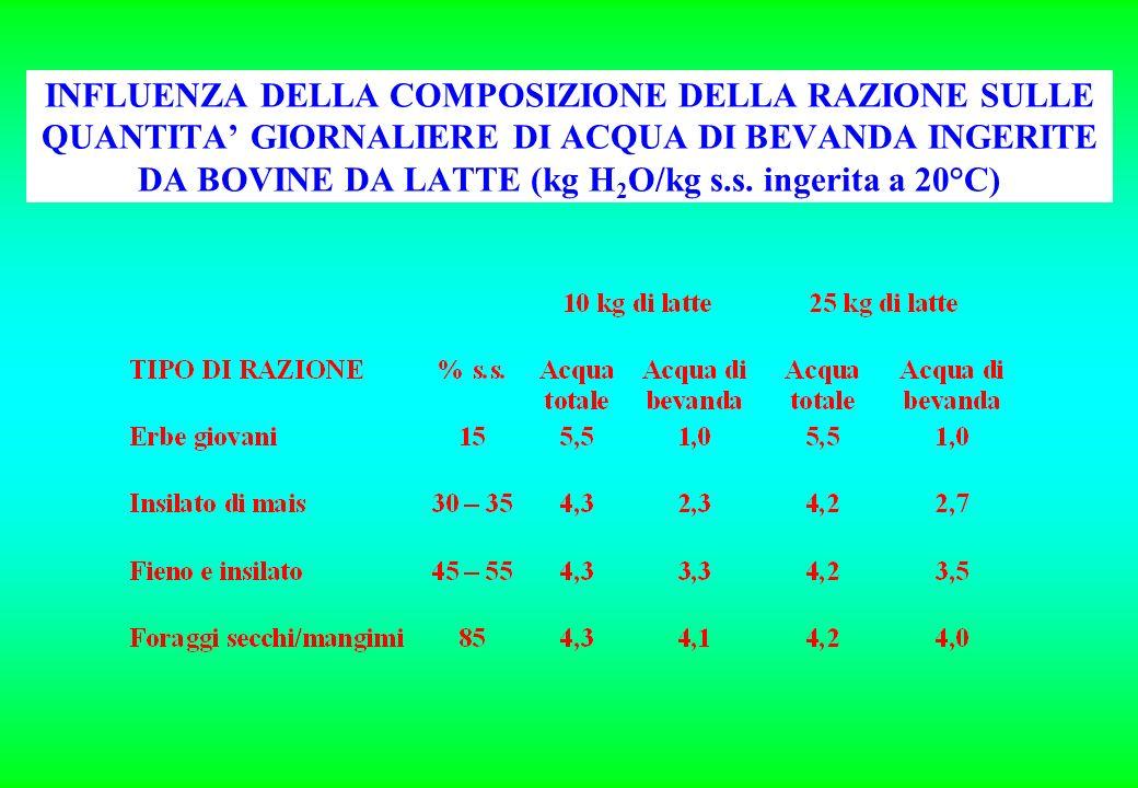 INFLUENZA DELLA COMPOSIZIONE DELLA RAZIONE SULLE QUANTITA GIORNALIERE DI ACQUA DI BEVANDA INGERITE DA BOVINE DA LATTE (kg H 2 O/kg s.s. ingerita a 20°