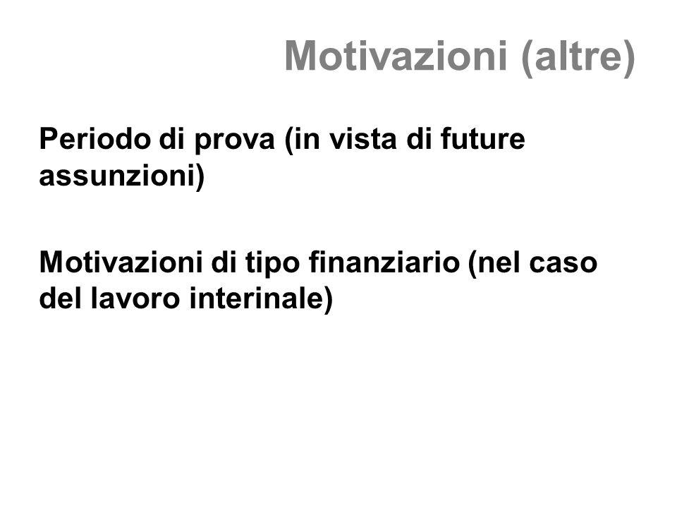 Motivazioni (altre) Periodo di prova (in vista di future assunzioni) Motivazioni di tipo finanziario (nel caso del lavoro interinale)