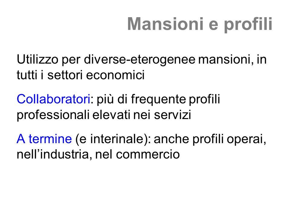 Mansioni e profili Utilizzo per diverse-eterogenee mansioni, in tutti i settori economici Collaboratori: più di frequente profili professionali elevati nei servizi A termine (e interinale): anche profili operai, nellindustria, nel commercio