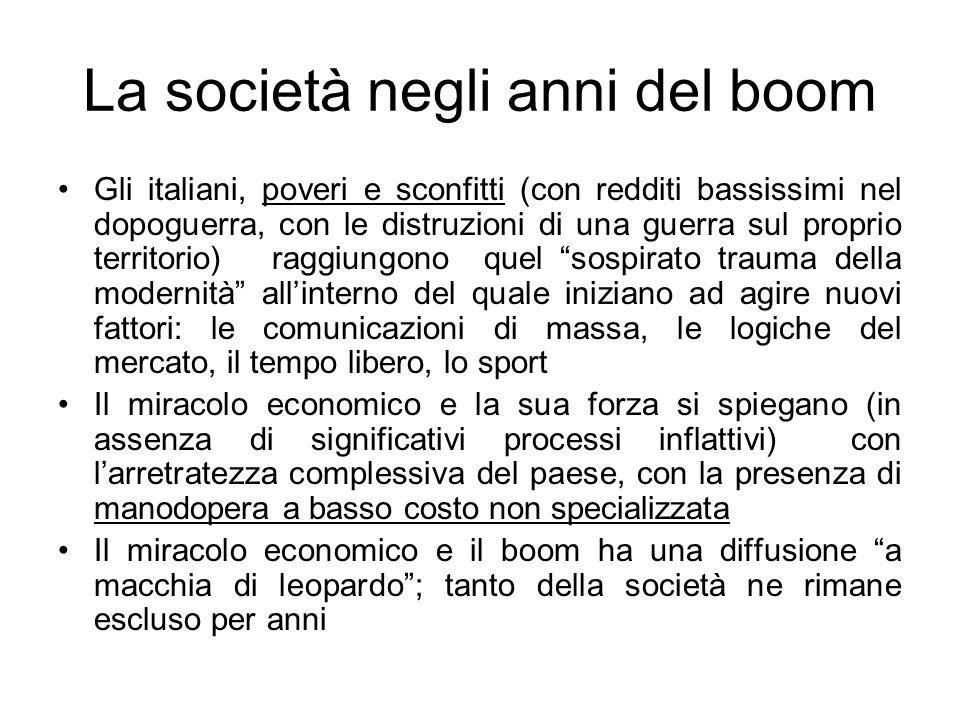 La società negli anni del boom Gli italiani, poveri e sconfitti (con redditi bassissimi nel dopoguerra, con le distruzioni di una guerra sul proprio t
