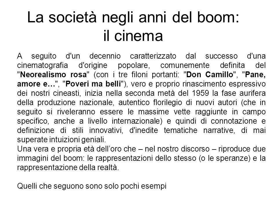 La società negli anni del boom: il cinema A seguito d'un decennio caratterizzato dal successo d'una cinematografia d'origine popolare, comunemente def