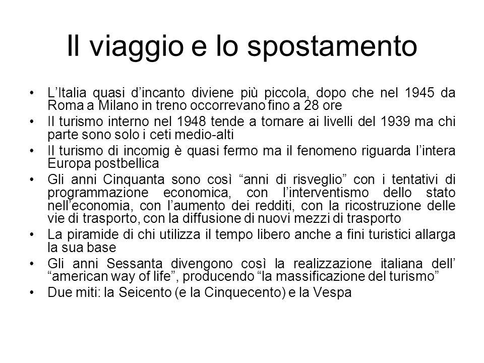 Il viaggio e lo spostamento LItalia quasi dincanto diviene più piccola, dopo che nel 1945 da Roma a Milano in treno occorrevano fino a 28 ore Il turis
