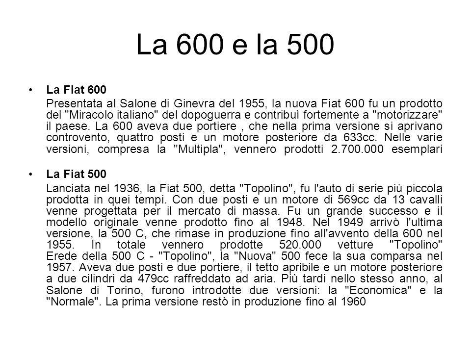 La 600 e la 500 La Fiat 600 Presentata al Salone di Ginevra del 1955, la nuova Fiat 600 fu un prodotto del Miracolo italiano del dopoguerra e contribuì fortemente a motorizzare il paese.