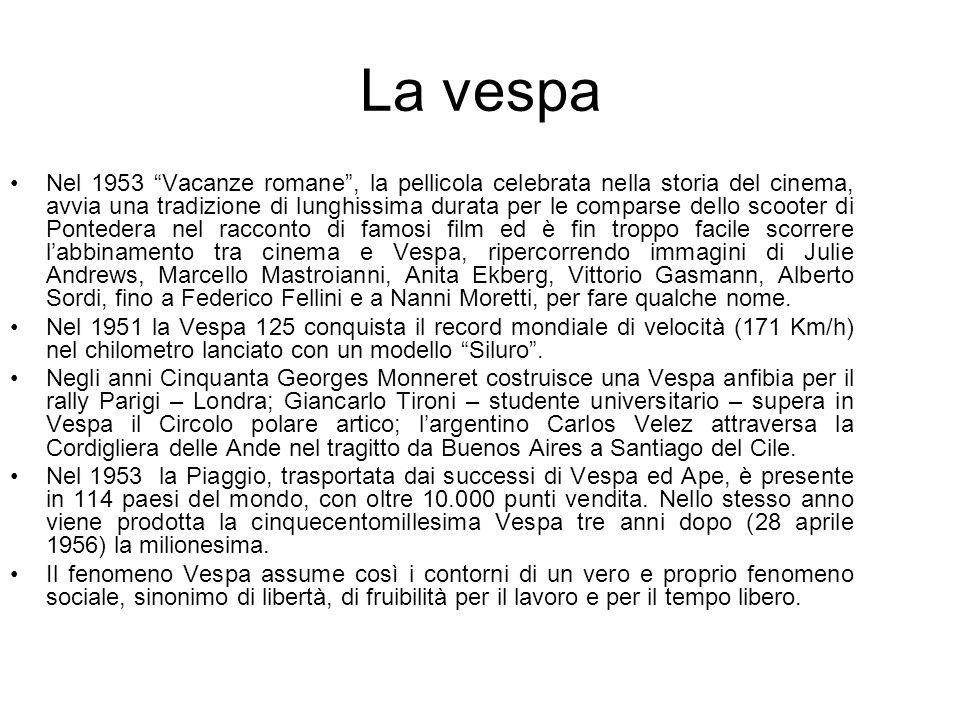 La vespa Nel 1953 Vacanze romane, la pellicola celebrata nella storia del cinema, avvia una tradizione di lunghissima durata per le comparse dello scooter di Pontedera nel racconto di famosi film ed è fin troppo facile scorrere labbinamento tra cinema e Vespa, ripercorrendo immagini di Julie Andrews, Marcello Mastroianni, Anita Ekberg, Vittorio Gasmann, Alberto Sordi, fino a Federico Fellini e a Nanni Moretti, per fare qualche nome.