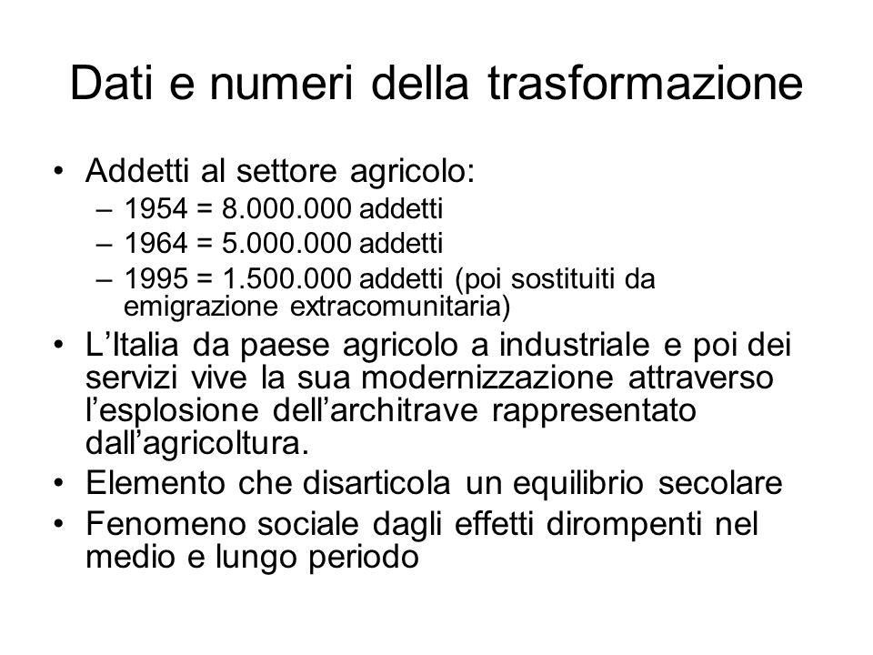 Dati e numeri della trasformazione Addetti al settore agricolo: –1954 = 8.000.000 addetti –1964 = 5.000.000 addetti –1995 = 1.500.000 addetti (poi sos