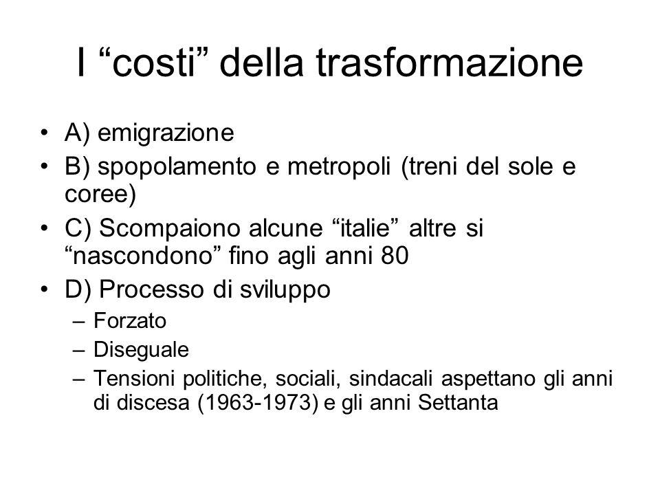 I costi della trasformazione A) emigrazione B) spopolamento e metropoli (treni del sole e coree) C) Scompaiono alcune italie altre si nascondono fino