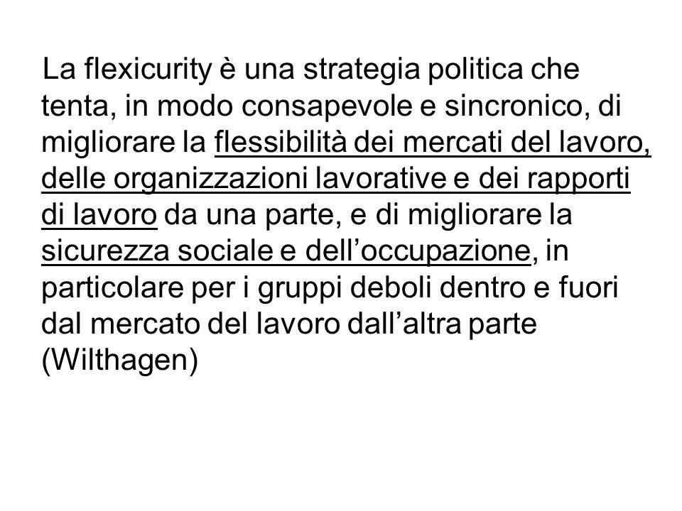 La flexicurity è una strategia politica che tenta, in modo consapevole e sincronico, di migliorare la flessibilità dei mercati del lavoro, delle organ