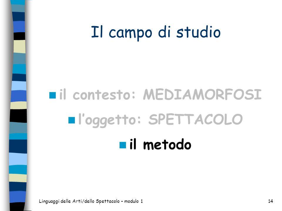Linguaggi delle Arti/dello Spettacolo – modulo 114 Il campo di studio il contesto: MEDIAMORFOSI loggetto: SPETTACOLO il metodo