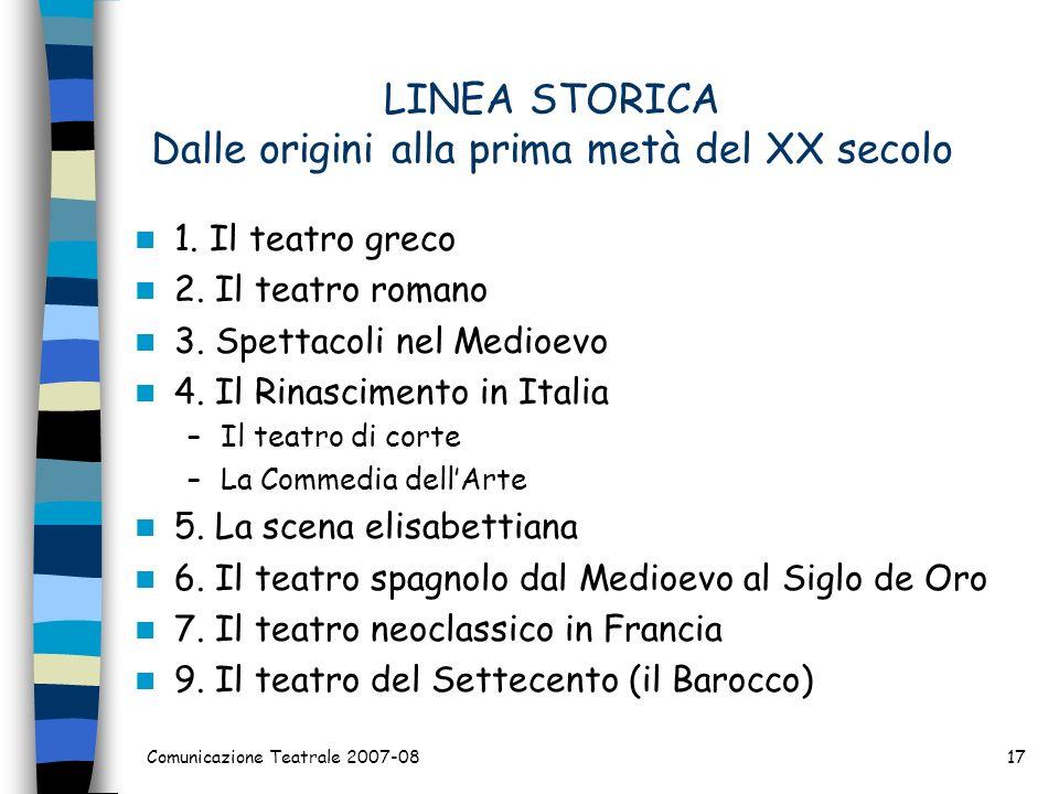 LINEA STORICA Dalle origini alla prima metà del XX secolo 1. Il teatro greco 2. Il teatro romano 3. Spettacoli nel Medioevo 4. Il Rinascimento in Ital